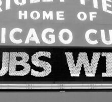 Cubs win black and white photo Sticker