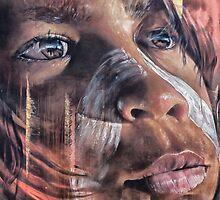 Aboriginal Child, Street Art, Hosier Lane  by Pauline Tims