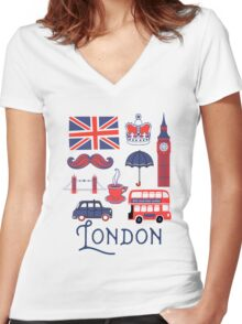 London Icons Women's Fitted V-Neck T-Shirt