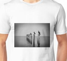 Birds on posts water black and white photo Unisex T-Shirt