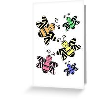 Colorful Bees Greeting Card