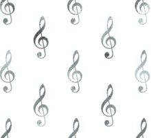 Silver White Clef Note Faux Foil Metallic Music Notes Sticker