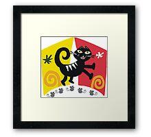 Black cat cartoon on red and orange background Framed Print