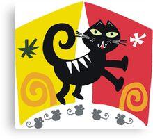 Black cat cartoon on red and orange background Canvas Print