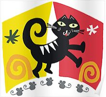 Black cat cartoon on red and orange background Poster