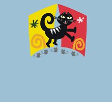 Black cat cartoon on red and orange background Unisex T-Shirt