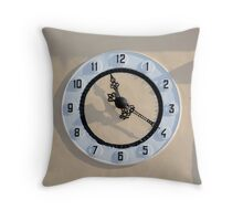 clock on the wall of a building Throw Pillow