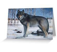 Grey Wolf in Snowy Landscape, Oil Pastel Painting Greeting Card