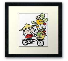 Cartoon Asian man riding bicycle carrying vegetables Framed Print