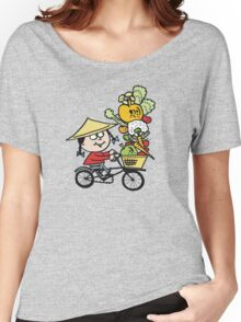 Cartoon Asian man riding bicycle carrying vegetables Women's Relaxed Fit T-Shirt