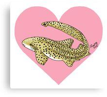 Zebra Shark Heart Canvas Print