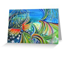 Dance of the Birds Abstract colorful painting Greeting Card