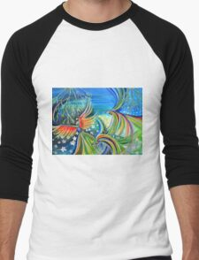 Dance of the Birds Abstract colorful painting Men's Baseball ¾ T-Shirt