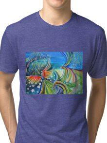 Dance of the Birds Abstract colorful painting Tri-blend T-Shirt