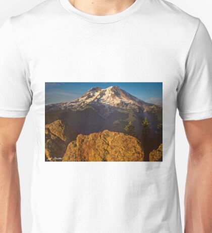 Mount Rainier at Sunset with Big Boulders in Foreground Unisex T-Shirt