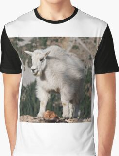 Mountain Goat Kid Standing on a Boulder Graphic T-Shirt
