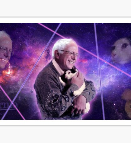 Bernie Sanders Holding Cat in Space Sticker