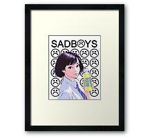 Sad Boys School Girl Framed Print