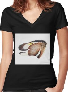 Fuzzy Tyrannosaurus Women's Fitted V-Neck T-Shirt