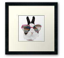 sticker-mural-lapin-lunette Framed Print