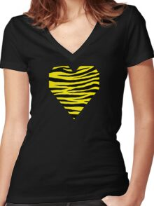 0103 Canary Yellow or Yellow (Process) Tiger  Women's Fitted V-Neck T-Shirt