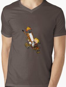 captain calvin and hobbe Mens V-Neck T-Shirt