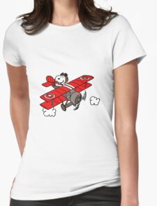 flying snoopy Womens Fitted T-Shirt