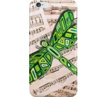 Dragonfly Music Sheet Green iPhone Case/Skin
