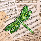 Dragonfly Music Sheet Green by Lisa Frances Judd~QuirkyHappyArt