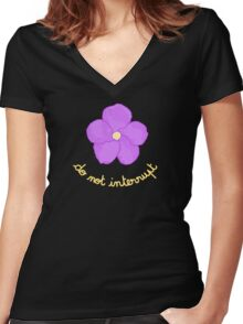 Do not Interrupt - Purple Flower Women's Fitted V-Neck T-Shirt