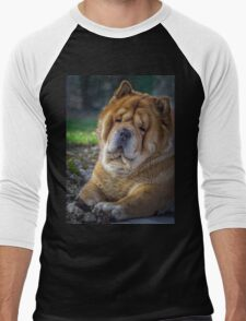 Cute chow dog portrait Men's Baseball ¾ T-Shirt