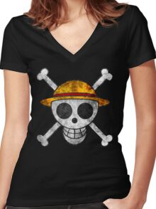 Straw Hat Pirates Women's Fitted V-Neck T-Shirt