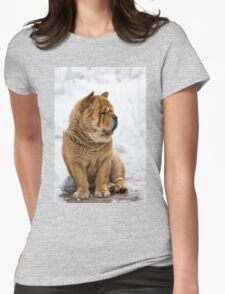 Winter chow dog portrait Womens Fitted T-Shirt