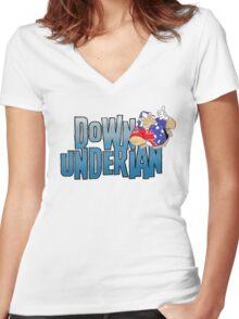 Down-Underian logo Women's Fitted V-Neck T-Shirt