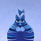 Fat Cat and Friend Blue by Lisa Frances Judd~QuirkyHappyArt