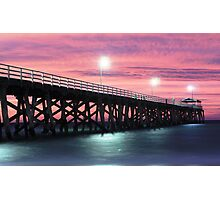 Grange Jetty: A fire in the sky Photographic Print