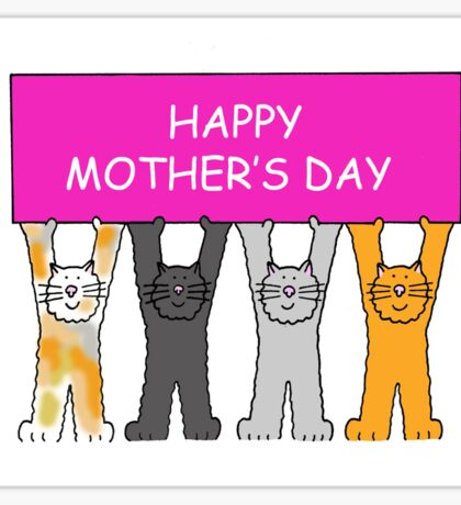 Happy Mother's Day Cats Sticker