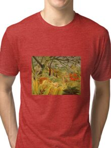 Henri Rousseau - Iger In A Tropical Storm Surprised Tri-blend T-Shirt