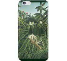 Henri Rousseau - Jaguar Attacking A Horse iPhone Case/Skin