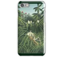 Henri Rousseau - Jaguar Attacking A Horse iPhone Case/Skin