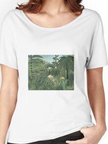 Henri Rousseau - Jaguar Attacking A Horse Women's Relaxed Fit T-Shirt