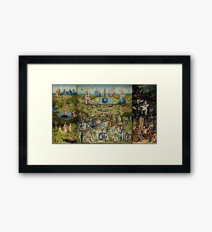 Hieronymus Bosch - The Garden Of Earthly Delights.  The Garden love - delight, eden, god, hell, adam, animal, bird, couple, fountain, monster, religion, fantasy, fish,  fruit Framed Print
