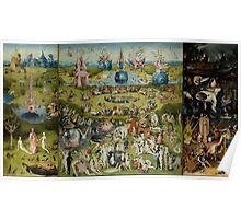 Hieronymus Bosch - The Garden Of Earthly Delights.  The Garden love - delight, eden, god, hell, adam, animal, bird, couple, fountain, monster, religion, fantasy, fish,  fruit Poster