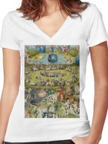 Hieronymus Bosch - The Garden Of Earthly Delights.  The Garden love - delight, eden, god, hell, adam, animal, bird, couple, fountain, monster, religion, fantasy, fish,  fruit Women's Fitted V-Neck T-Shirt