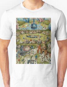 Hieronymus Bosch - The Garden Of Earthly Delights.  The Garden love - delight, eden, god, hell, adam, animal, bird, couple, fountain, monster, religion, fantasy, fish,  fruit Unisex T-Shirt
