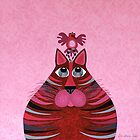 Fat Cat and Friend Pink by Lisa Frances Judd~QuirkyHappyArt