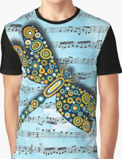 Dragonfly Music Sheet Blue Graphic T-Shirt