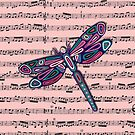Dragonfly Music Sheet Pink by Lisa Frances Judd~QuirkyHappyArt