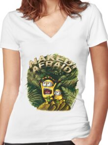 Naked and Afraid Minions Women's Fitted V-Neck T-Shirt