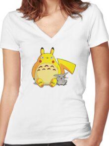 Totorotchu & Pikaro  Women's Fitted V-Neck T-Shirt